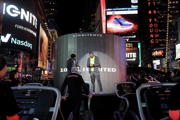 NEW YORK, NY - FEBRUARY 10:  Usain Bolt and New York City runners ignite Times Square to launch PUMA's most responsive running shoe, IGNITE, on February 10, 2015 in New York, New York.  (Photo by Brad Barket/Getty Images for PUMA)